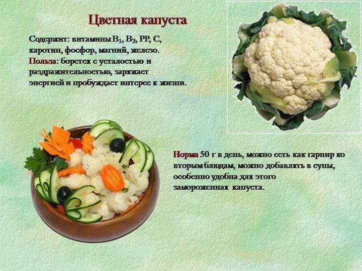 Цветная капуста польза и вред, калорийность, фото, применение