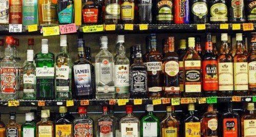 Полка со спиртными напитками