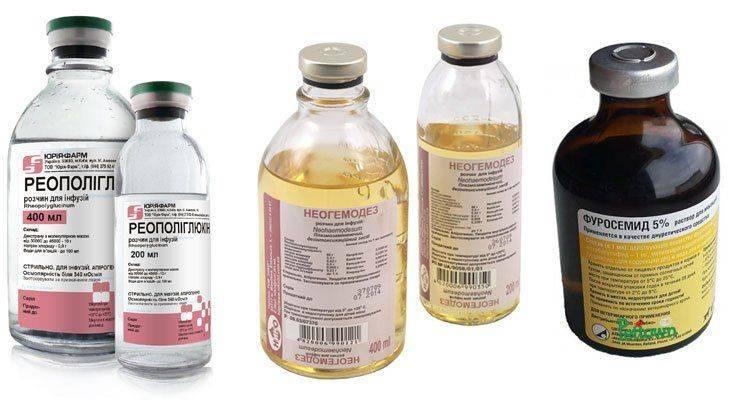 Растворы Гемодеза, Реополиглюкина и Фуросемида