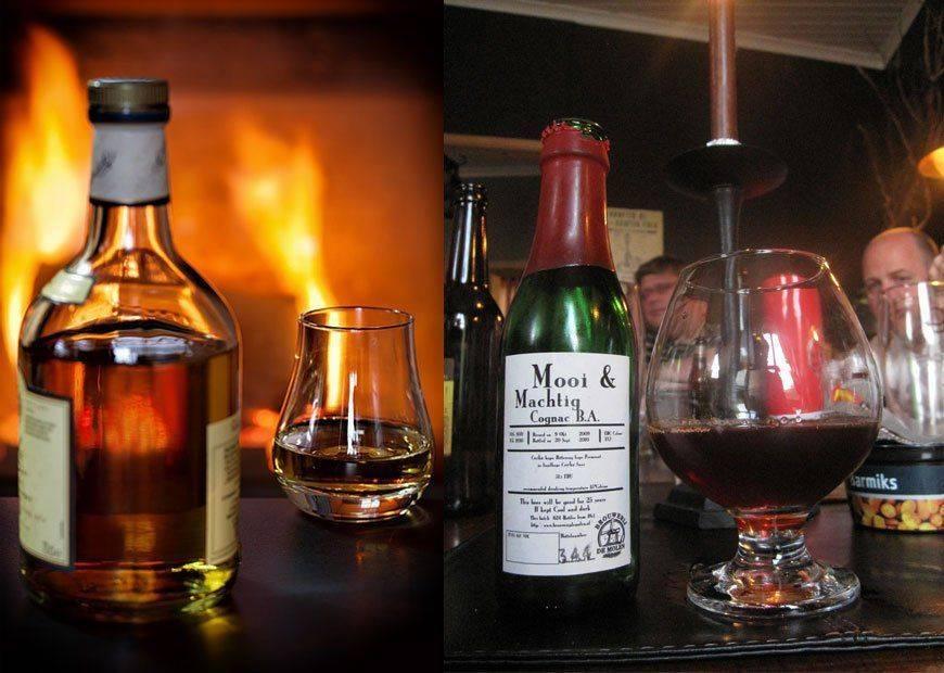 Бутылки коньяка и виски