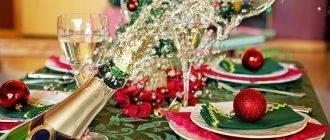 Бутылка шампанского и новогодний стол