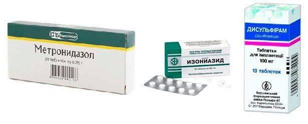 Метронидазол, Изониазид, Дисульфирам