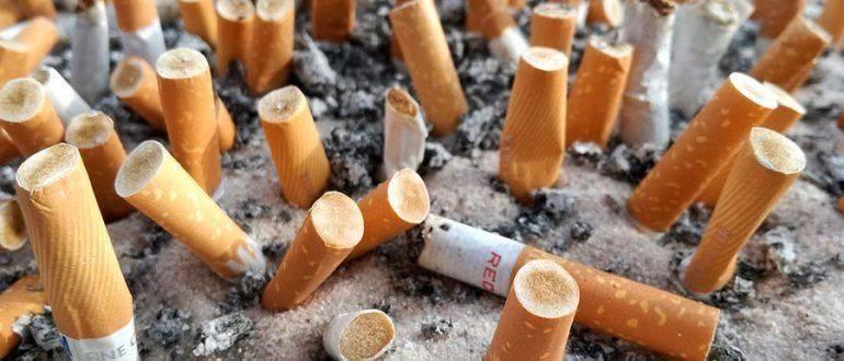Много сигаретных окурков