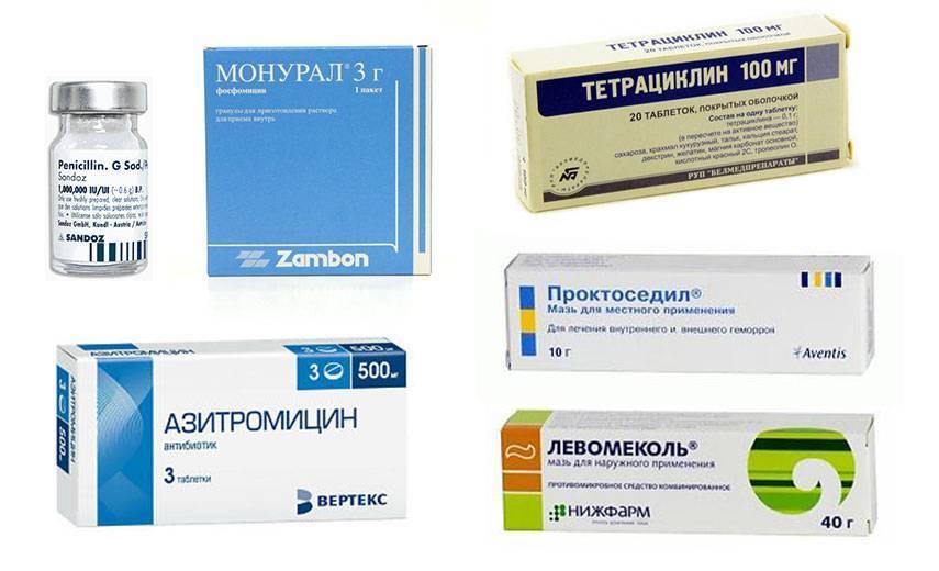 Пенициллин, Монурал, Тетрациклин, Азитромицин, Левомеколь, Проктоседил