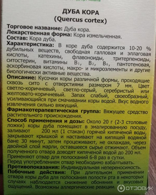 Кора дуба: лечебные свойства и противопоказания