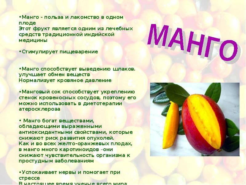 Манго: полезные свойства и противопоказания, применение, рецепты