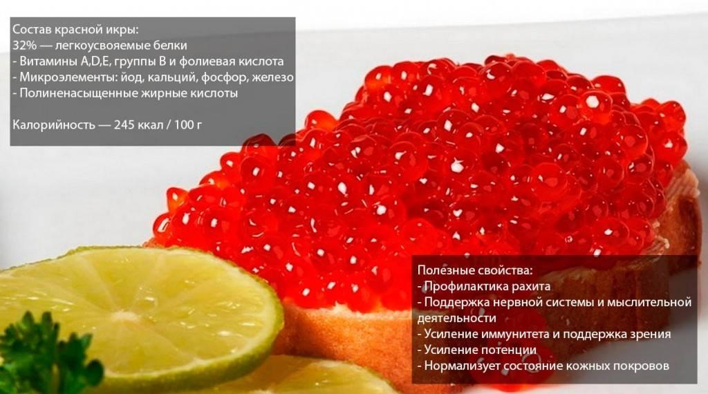 Красная икра. польза и вред для здоровья детей, при беременности, заболевании печени, онкологии. виды, состав, калорийность