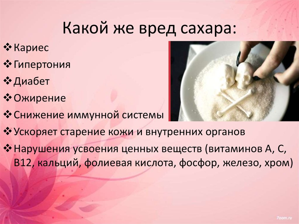 Вред сахара для организма человека