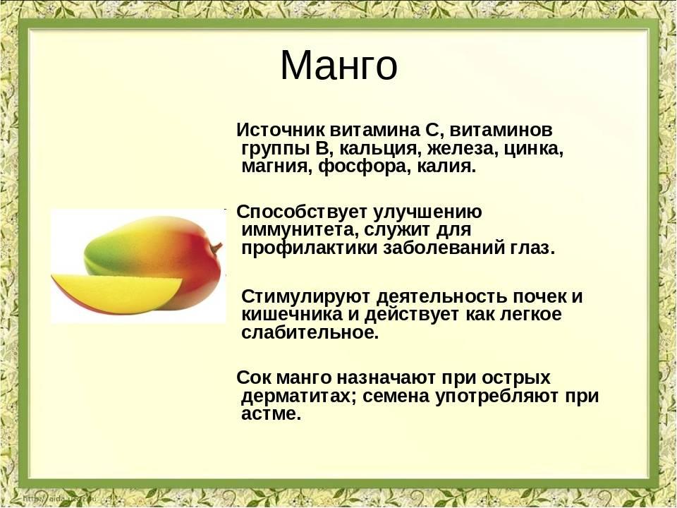Манго: польза и вред